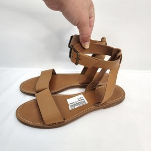 Madewell Boardwalk Leather Ankle Sandals (Brown)